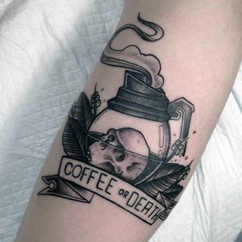 Stunning Coffee Tattoo On Arm for Girl