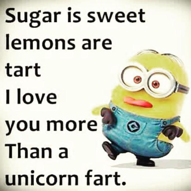 Sugar is sweet lemons are tart i love you more than a unicorn fart Meme