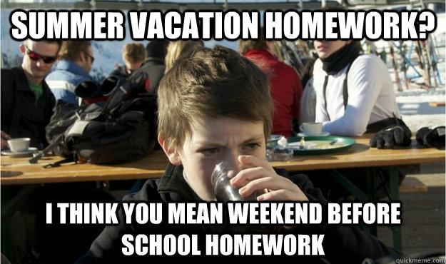 Summer vacation homework i think you Homework Meme