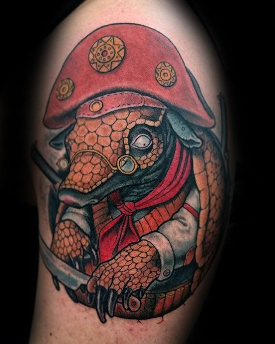 Superb Armadillo Tattoo On shoulder for women