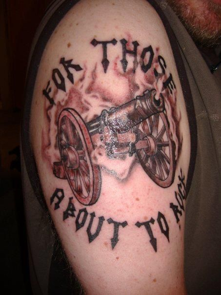 Sweet Cannon Tattoo For Boy's shoulder