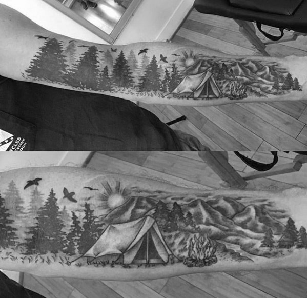 Terrific Camping Tattoos On Arm for Full sleeve