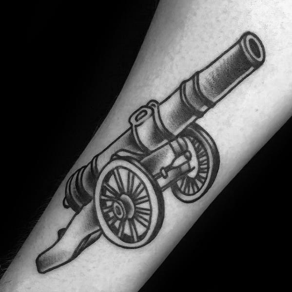 Terrific Cannon Tattoo On ARm for Boys
