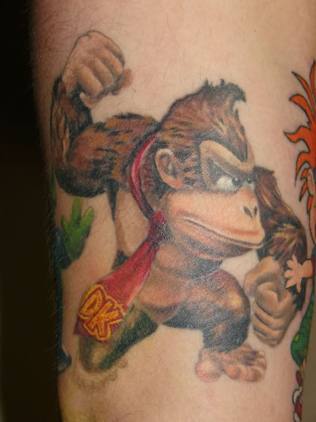 Terrific Donkey Kong Tattoo On ARm for men