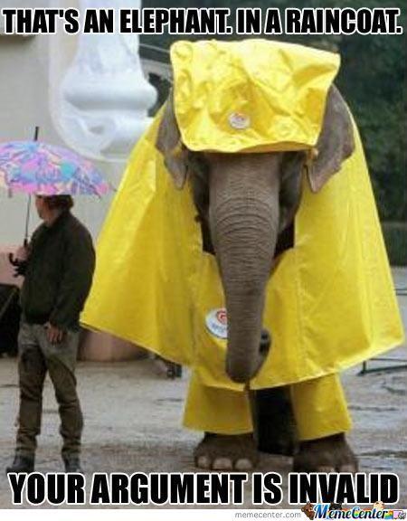 That an elephant in a raincoat Elephant Meme