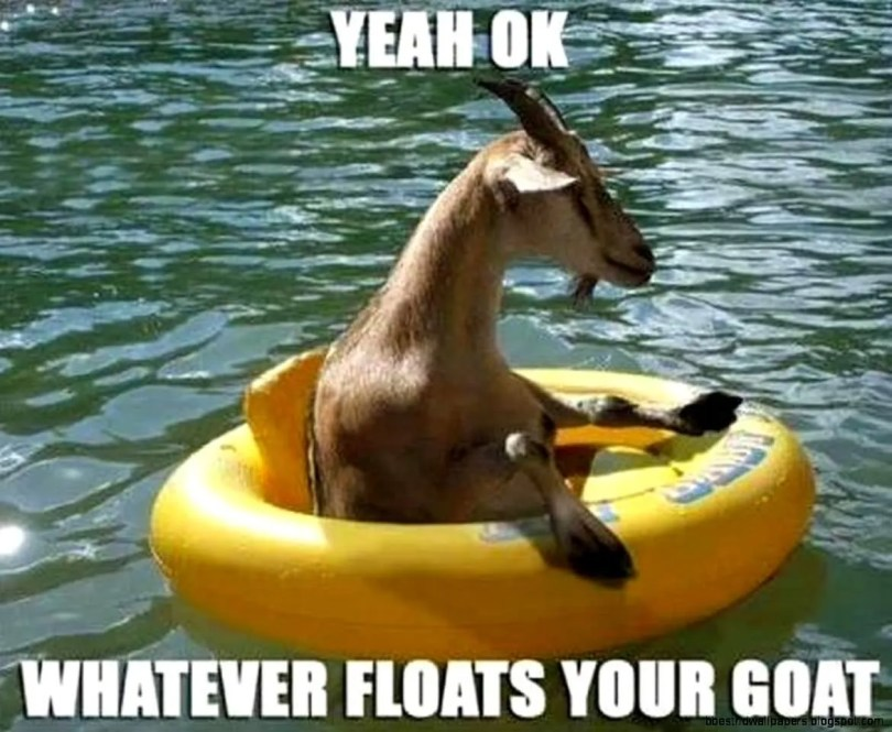 Yeah ok whatever floats your goat Goat Meme