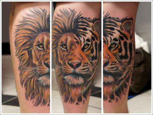 Adorable Calf Tattoos On leg for boy lion tattoo