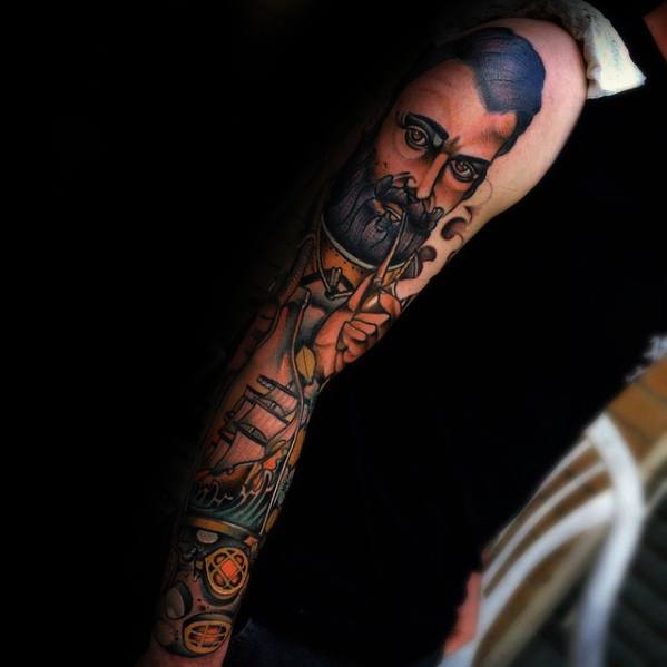 Awesome Diving Helmet Tattoos For men's arm