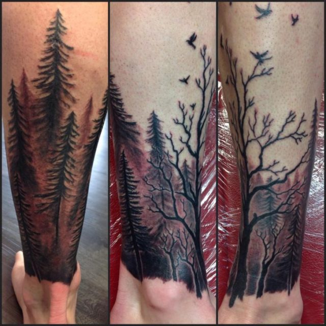 Awesome Forest Tattoos On leg for Boy