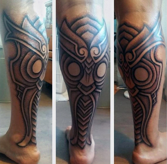 Best Ever Calf Tattoos On leg for guy