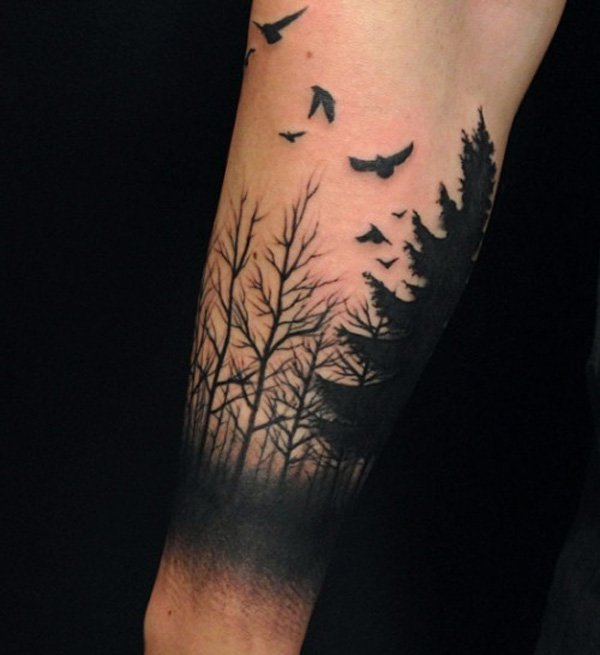 Brilliant Forest Tattoos on arm for boy