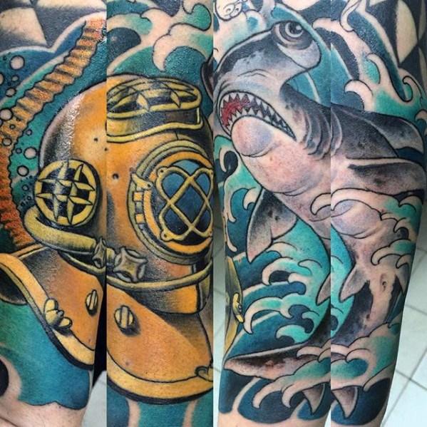Catchy Diving Helmet Tattoos On leg for Women
