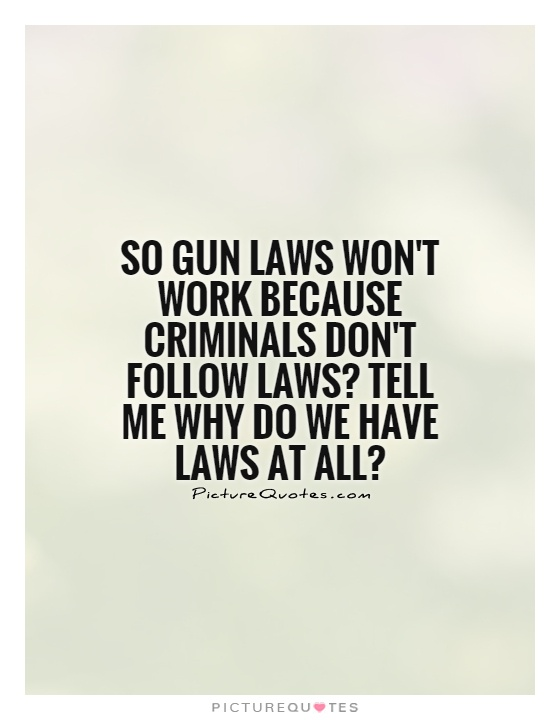 Criminal Quotes so gun laws won't work because criminals don't follow laws