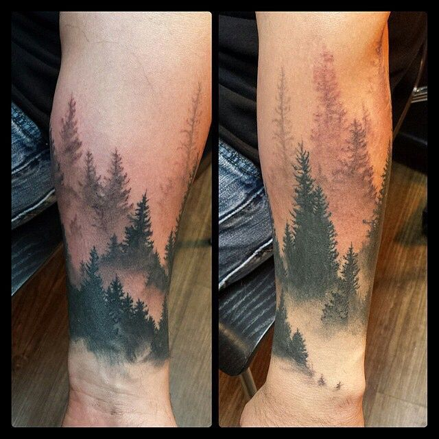 Custom Forest Tattoos On leg for men
