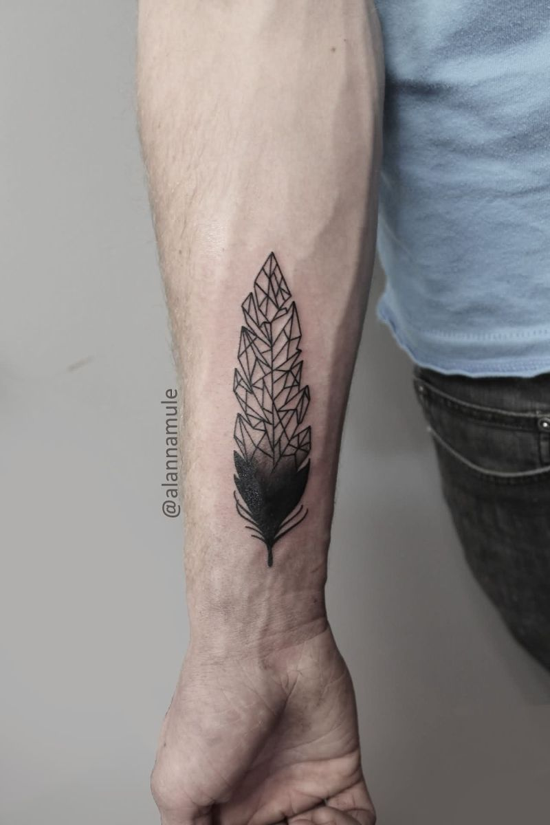 Custom Geometric Feather Tattoo On arm for arm
