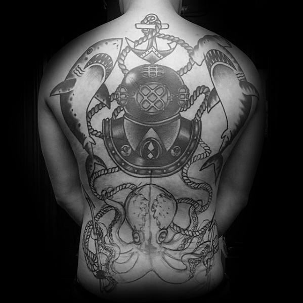 Cute Diving Helmet Tattoos On full back for tattoo fan