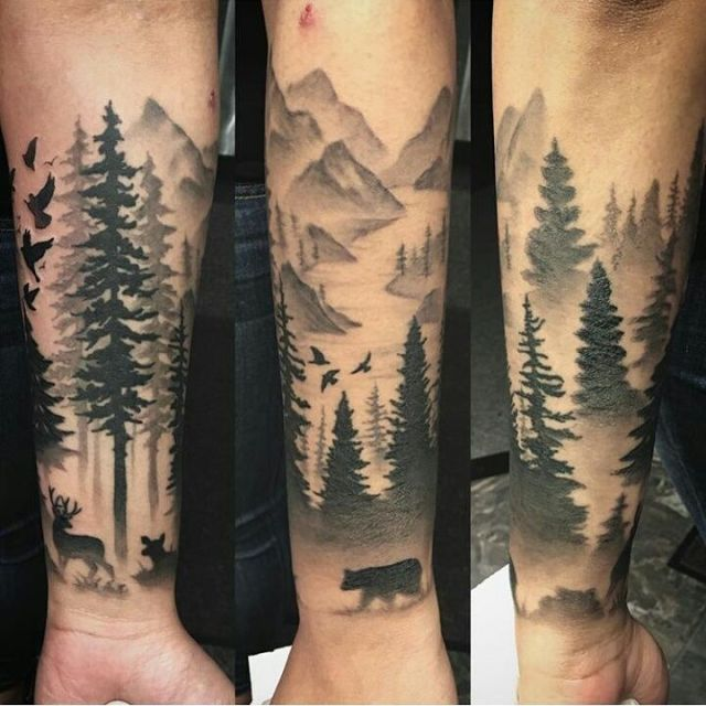 Cute Forest Tattoos On Arm for boy