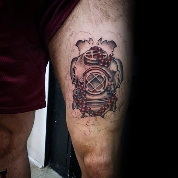 Dangerous Diving Helmet Tattoos On thigh for guy