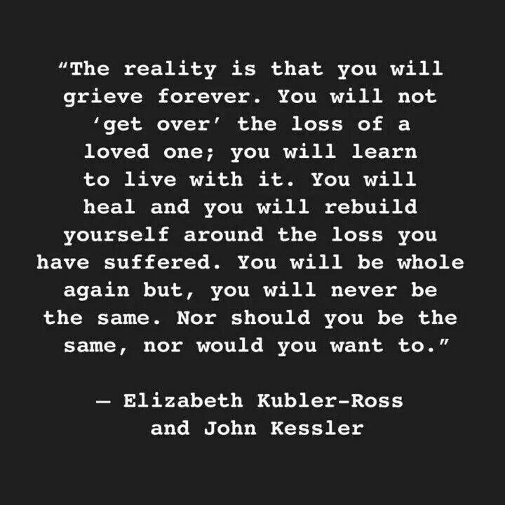Death Quotes the reality is that you will grieve forever you will not get over