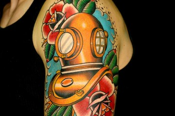 Diving Helmet Tattoo Idea