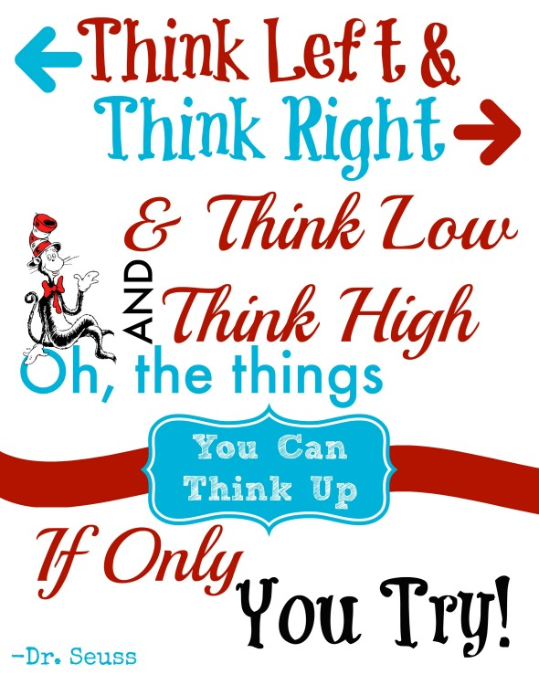 Dr Seuss Quotes think let t think right think low