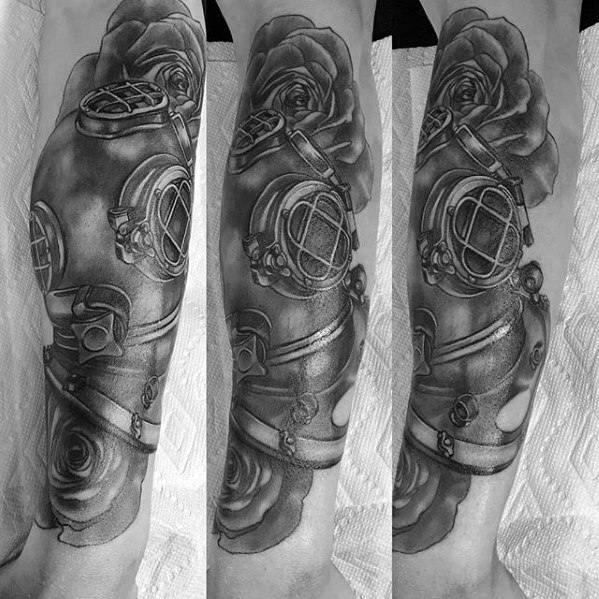 Exceptional Diving Helmet Tattoos On arm for ladies