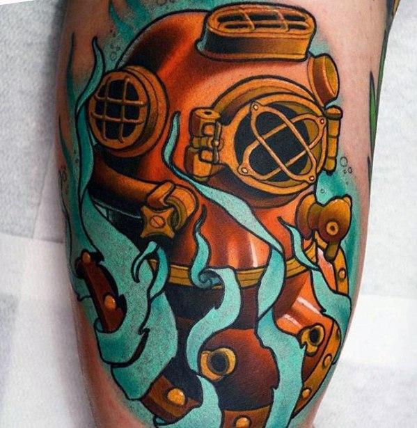 Fabulous Diving Helmet Tattoos On thigh for girl