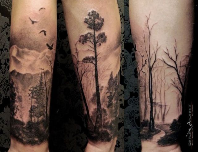 Horrible Forest Tattoos On arm for men
