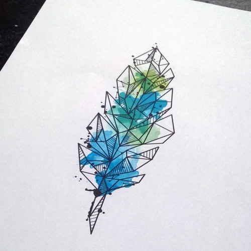 Horrible Geometric Feather Tattoo for women