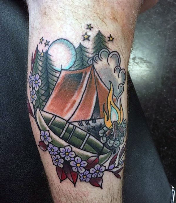 Impressive Camping Tattoos on Leg for Boys