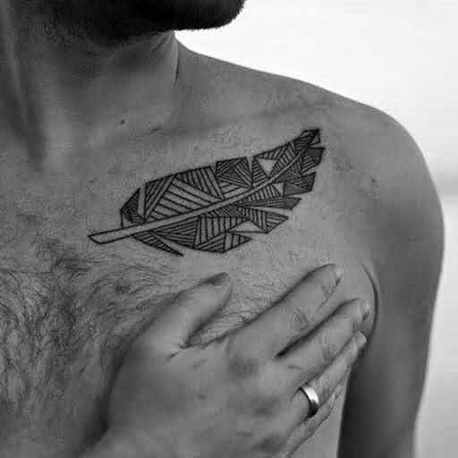 Incredible Geometric Feather Tattoo On chest