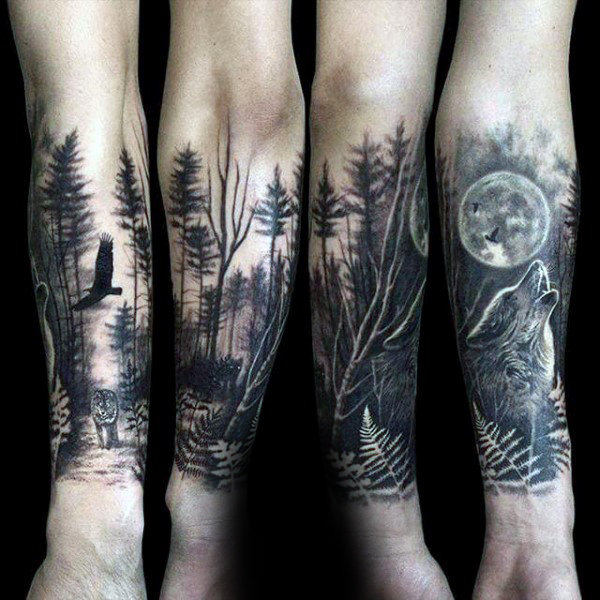 Innovative Forest Tattoos On arm for girl