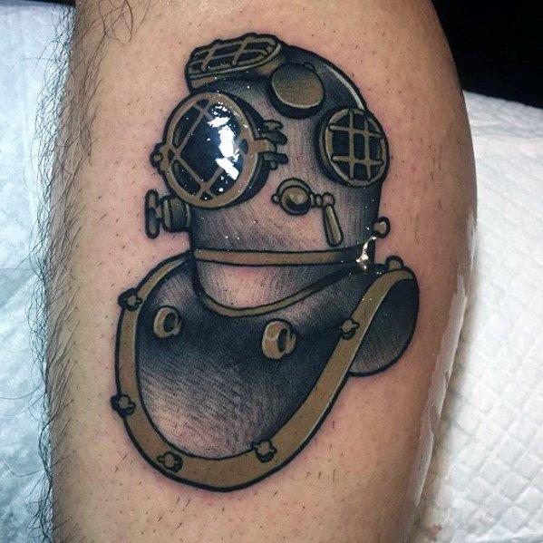 Lovely Diving Helmet Tattoos On leg for boy