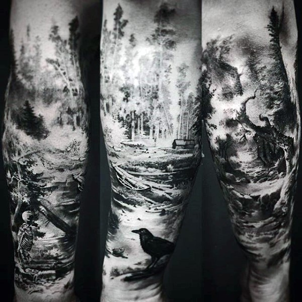 Marvelous Forest Tattoos On leg for girl