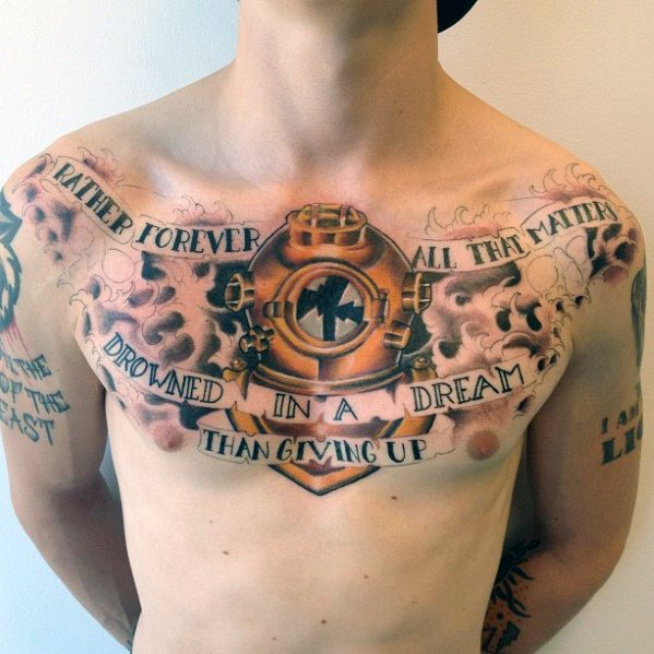 Mind blowing Diving Helmet Tattoos For men's chest