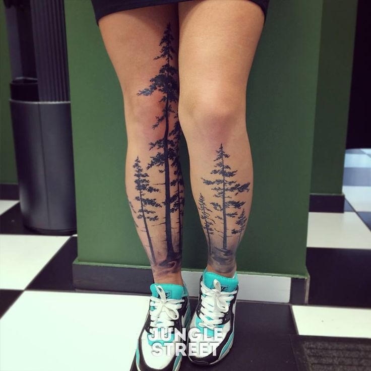 Mind blowing Forest Tattoos On leg and thigh