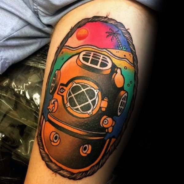 Nice Diving Helmet Tattoos On arm for men