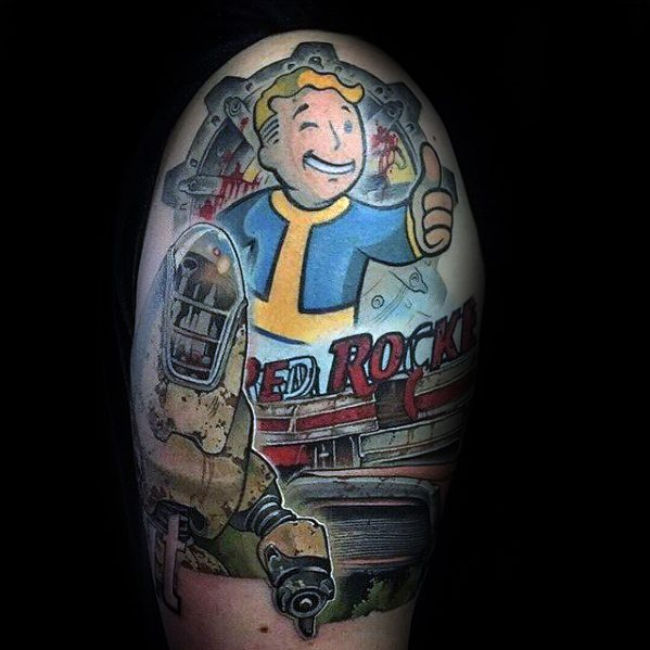 Nice Fallout Tattoos On shoulder for Girl