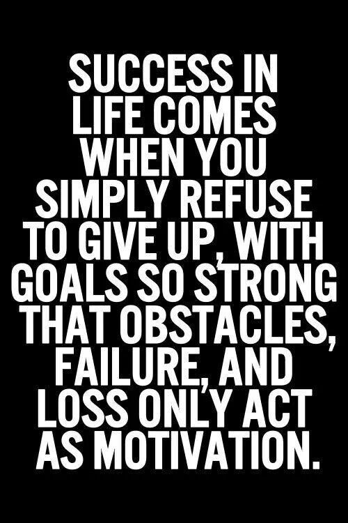 Success Quotes Success in life comes when you simply refuse