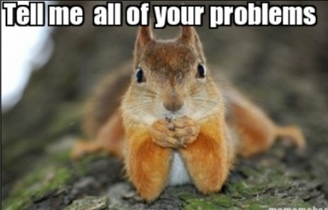 Tell me all of your problems Squirrel Meme