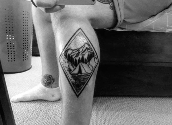 Terrific Camping Tattoos On leg for Boys