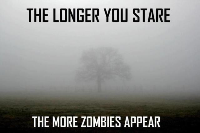 The longer you stare the more zombies Zombie Meme