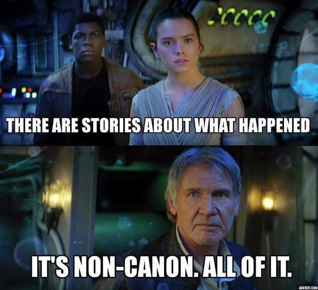 There are stories about what happened it's non canon all of it Star War Memes