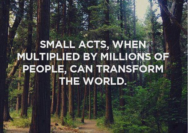 Transform Quotes small acts when multiplied by millions of people can transform the world