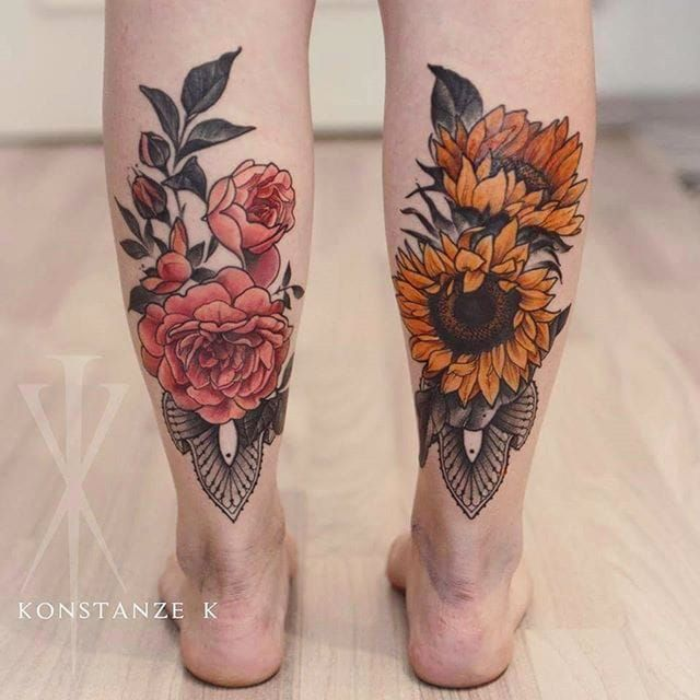 Trendy Calf Tattoos On leg for girl
