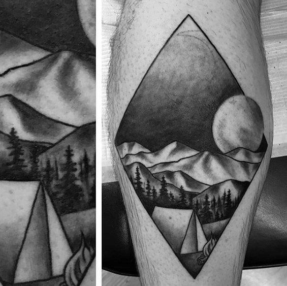 Ultimate Camping Tattoos On Leg for Boys