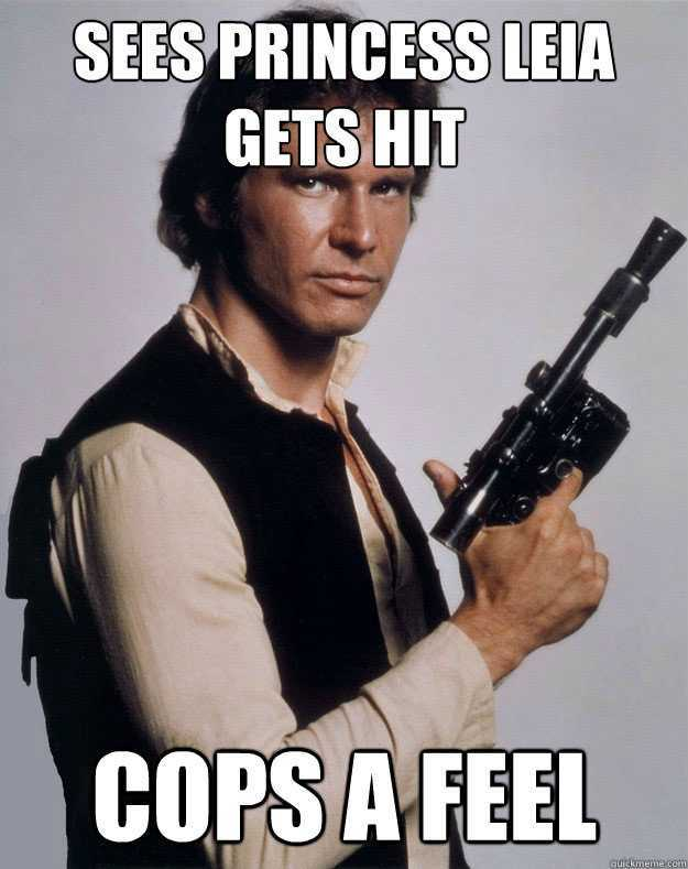 War Meme Sees princess leia gets hit cops a feel
