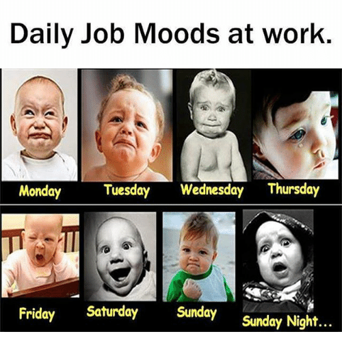 Daily job moods at work Wednesday Work Meme