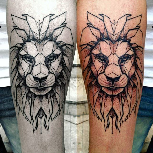 Geometric Lion Tattoos