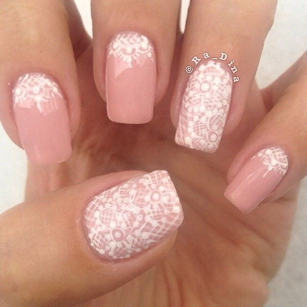 Pink and White Nails Art